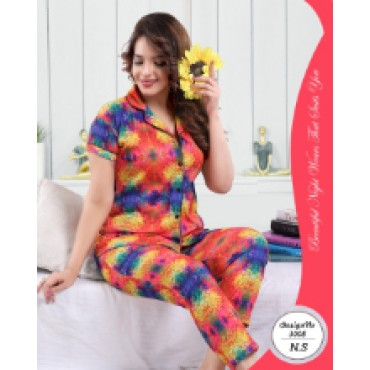 Beautiful satin printed night suit for women ( floral funky pattern)