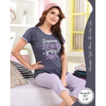 Beautiful cotton capri tshirt nightwear set