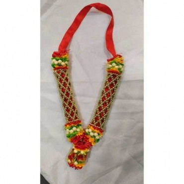 Elysian Fabric Ribbon Multi Color Garland Small for God/Devi Haar/Goddess Haar/God Shringar 20cm + Thread 1 PC