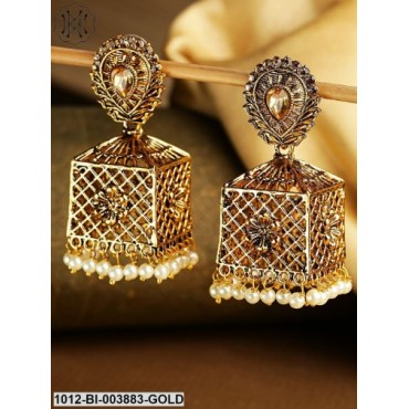 Antique Gold-Plated Handcrafted Geometric Jhumkas