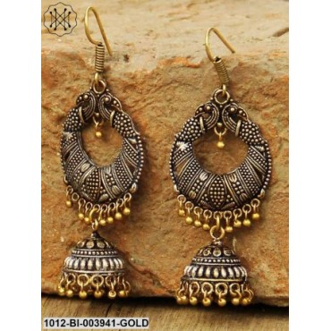 Antique Gold-Toned Oxidised Silver-Plated Dome-Shaped Jhumkas