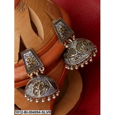 Antique Gold-Toned Oxidised Silver-Plated Peacock Shaped Jhumkas