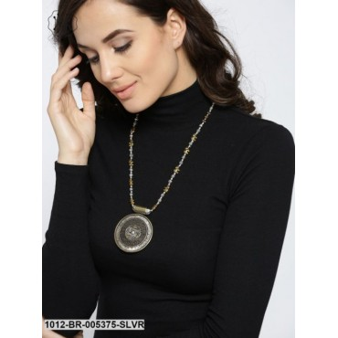 Antique Gold-Toned Oxidised Silver-Plated Necklace