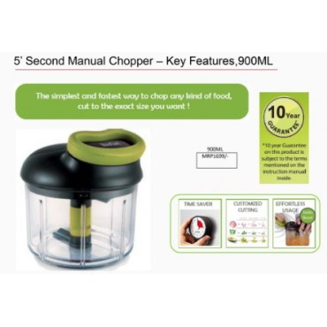 <h3><strong>5' Second Manual Chopper – Key Features,900ML</strong></h3><br> <p>     </p>        <p>Delivery charges will be applicable</p>