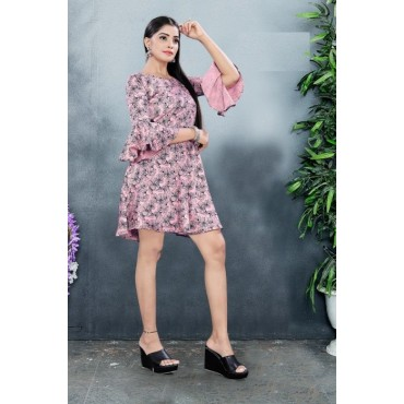 Bell Sleeve Knee Length Tunic frock