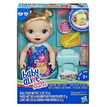 """Baby Alive Snackin' Shapes: Baby Doll That Eats and """"Poops"""" with Accessories, Includes Pasta Maker, Reusable Doll Food, Dolls for girls and boys 3 years old and up"""