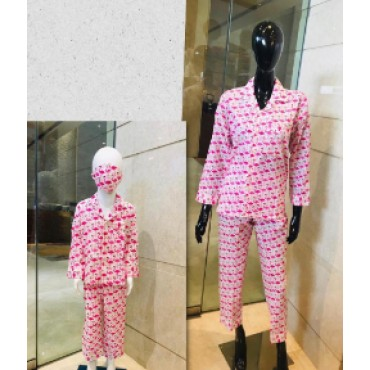 Cotton printed Night suit set for women & kids