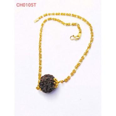 Big Rudraksha Mala with Golden Cap for Unisex Wood Chain