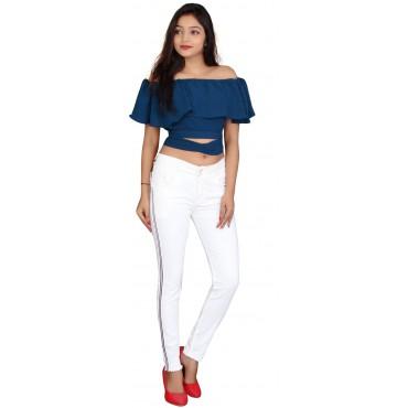 MM-21 White Cotton Denim Side Stripes 2-Button Mid Waist Jeans For Women