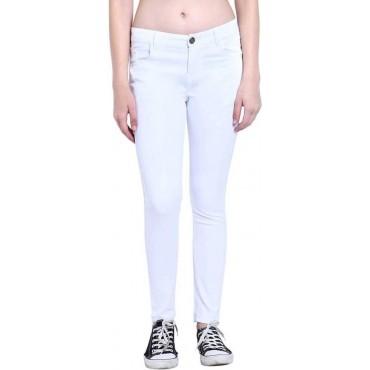 MM-21 White Cotton Denim Plain Basic Skinny Fit Jeans For Women