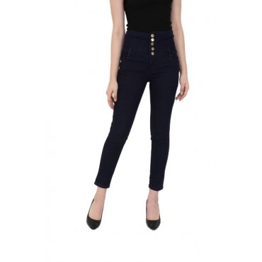 MM-21 Navy Blue Knitted Denim 5-Button High Waist Skinny Fit Jeans For Women