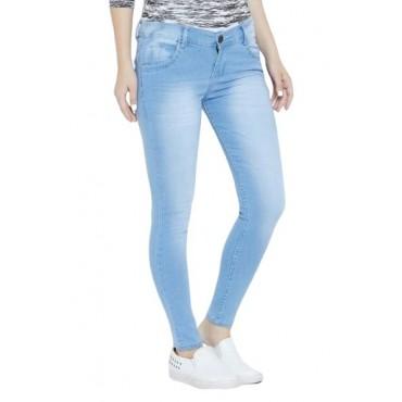MM-21 Light Blue Dobby Denim Washed Jeans For Women