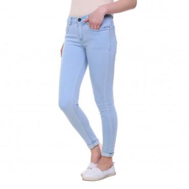 MM-21 Light Blue Knitted Denim Basic Skinny Fit Jeans For Women