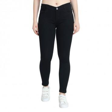 MM-21 Black Knitted Denim Basic Skinny Fit Jeans For Women