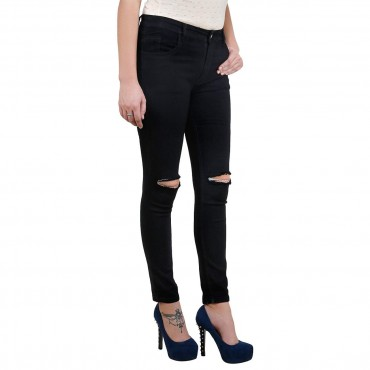 MM-21 Black Knitted Denim Knee Cut Skinny Fit Jeans For Women
