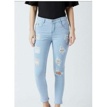 MM-21 Light Blue Knitted Denim Funky Skinny Fit Jeans For Women
