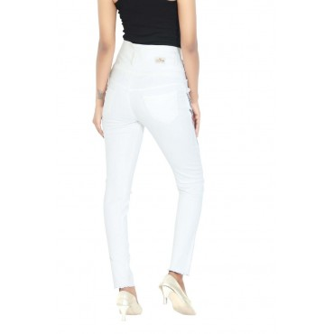 MM-21 White Cotton Denim Side Stripes 5-Button High Waist Jeans For Women