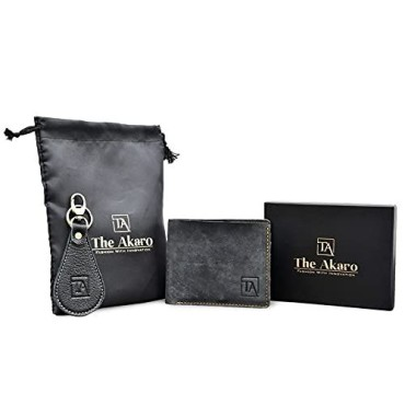 The Akaro Leather Wallet and Keychain Combo for Men | Dark Grey (AK10)