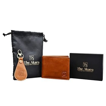 The Akaro Leather Wallet and Keychain Combo for Men | Brownish Tan (AK14)