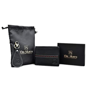 The Akaro Leather Wallet and Keychain Combo for Men | Dual Black (AK11)