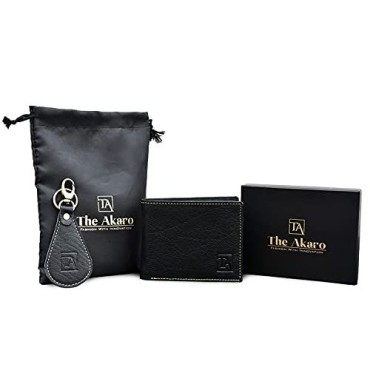 The Akaro Leather Wallet and Keychain Combo for Men | Rusty Black (AK12)