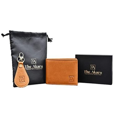 The Akaro Leather Wallet and Keychain Combo for Men | Light Tan (AK06)