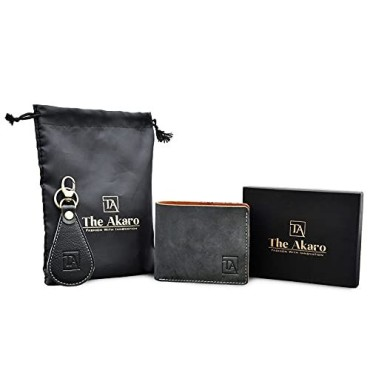The Akaro Leather Wallet and Keychain Combo for Men | Dark Grey (AK13)
