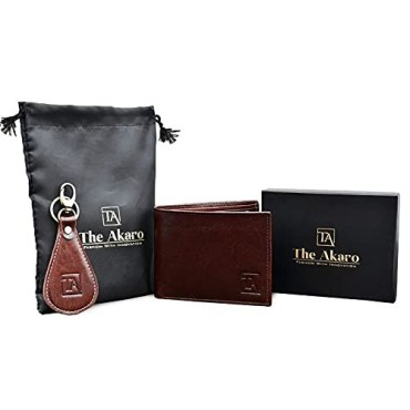 The Akaro Leather Wallet and Keychain Combo for Men | Maroon (AK09)