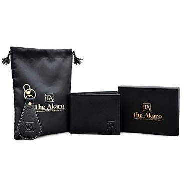 The Akaro Leather Wallet and Keychain Combo for Men | Royal Black (AK18)