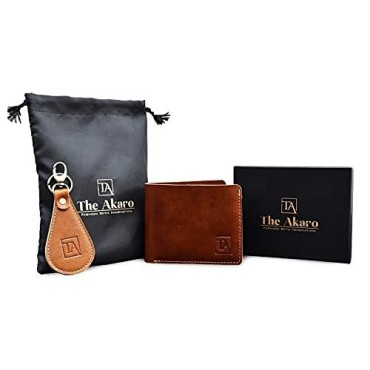 The Akaro Leather Wallet and Keychain Combo for Men | Duotone Brown (AK01)
