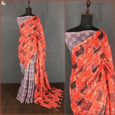 Linen Digital Print sarees for Women's