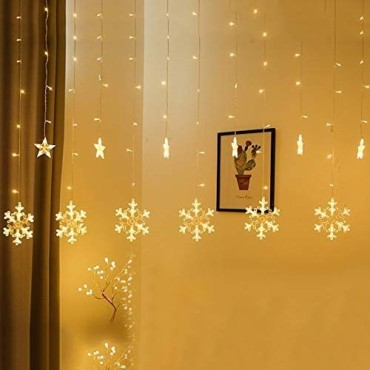 Brand World 138 LED, 8 Modes Waterproof String Lights Christmas Snowflake Curtain Lights with Star String Light for Christmas Window, Garden, Patio Decoration (Warm White)