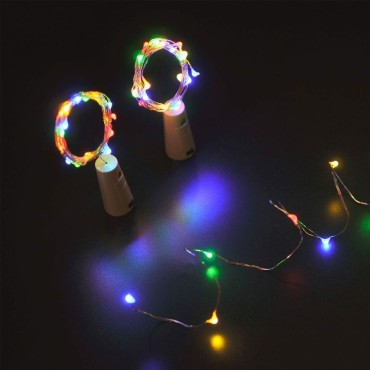 Brand World 20 LED Bottle Cork Lights Copper Wire String Lights for Christmas, New Year, Valentine's Day, Birthday Party (Size-2 Meter/Pack of 2/Colour-Multicolor )