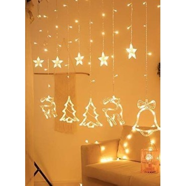 Brand World 5 meter, 5 + 5 (5 stars & 5 - Bell / Reindeer / Christmas Tree) LED Special Christmas Theme String Lights, Curtain String Lights with 8 Flashing Modes for Home Indoor and Outdoor Christmas Decoration - Warm White