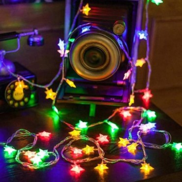 Brand World 3meter - 16 LED Small Star String Lights for Decoration, Indoor/Outdoor Diwali Festive Occasion Wedding Party Christmas Tree (Multicolour)