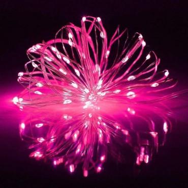 Brand World 10 Meters, Plug in Light- Wire LED String Lights for Bedroom Wedding Diwali Christmas Tree Decoration Lights, Waterproof (Pink) - Pack of 1