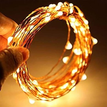 Brand World 10 Meters, Plug in Light- Wire LED String Lights for Bedroom Wedding Diwali Christmas Tree Decoration Lights, Waterproof (Warm White) - Pack of 1