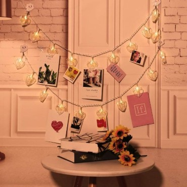 Brand World - 16 Photo Clip String Light for Home Decoration, Bed Room Decor, Birthday Party, Diwali, Christmas - Warm White (Heart Shape)