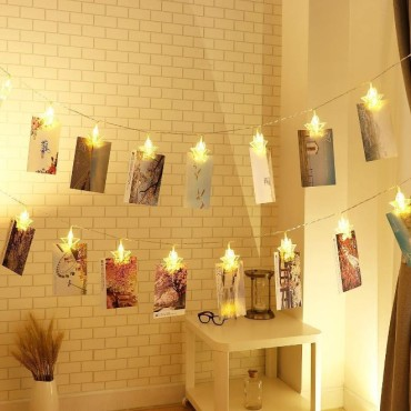 Brand World - 16 Photo Clip String Light for Home Decoration, Bed Room Decor, Birthday Party, Diwali, Christmas - Warm White (Star Shape)
