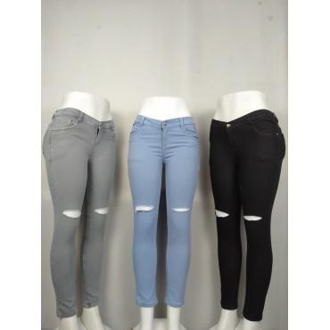 Knee Cut Denim Skinny Fir Women's Jeans