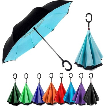 Double Layer Inverted Reversible No Drip Umbrella with C Shape Handle