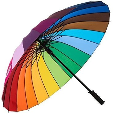 Rainbow Umbrella Windproof Upside Down Reverse Double Layer Inside Out Folding Multicolor Polyester Umbrella for Men and Women - Upgraded Auto Button (C)