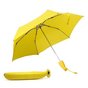 Banana Shape Folding Umbrella Rain Umbrella for Outdoor in Banana Shape-(Yellow)