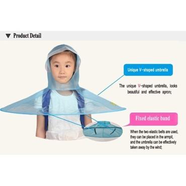 Rain Coat New Desingn UFO Hat Shape Cap Cute Children's Hooded Poncho Cloak Umbrella Magical HandsFree for Kids (Multi Color)