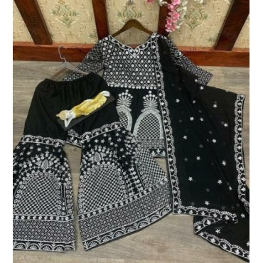 Georgette Kurti with Plazo for Women's