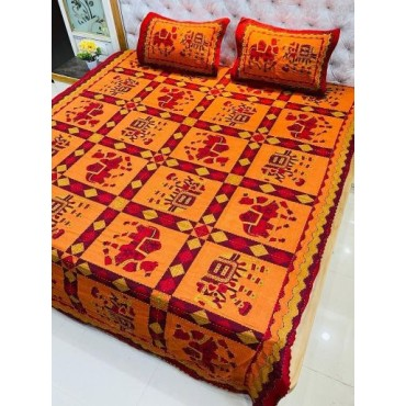 Traditional Kantha Work Double King Size Bedsheet with 2 Zipped Pillow Cover