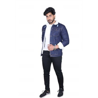 Full sleeves Solid Men Denim Blue Jacket