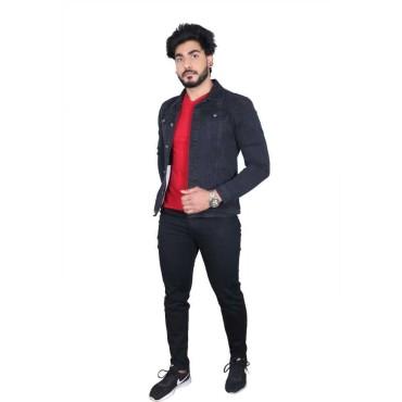 Full sleeves Solid Men Denim Black Jacket