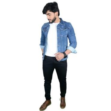 Full sleeves Solid Men Denim Dark Blue Jacket