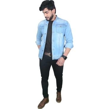 Full sleeves Solid Men Denim Light Blue Jacket